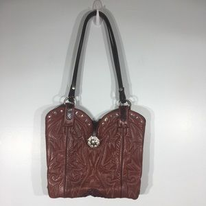 Vintage Montana Boot Bag Dark Red Bling